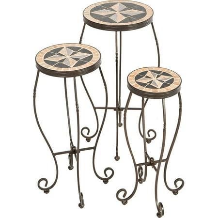 Image of Alfresco Home Formia 3 Piece Round Plant Stand Set