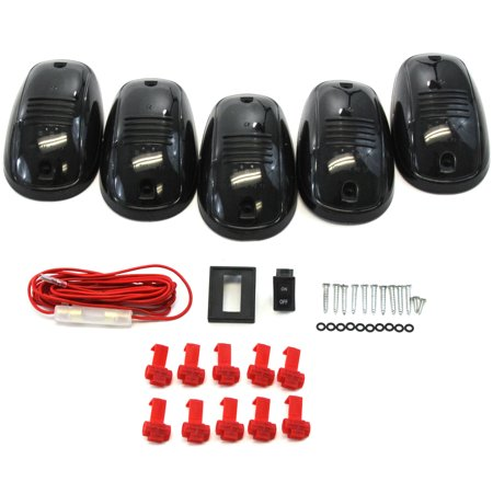 5 Piece Smoked Lens Amber LED Cab Roof Running Marker Light Set Compatible with Trucks SUVs RVs Off Road Complete Kit with Wiring Harness Switch &