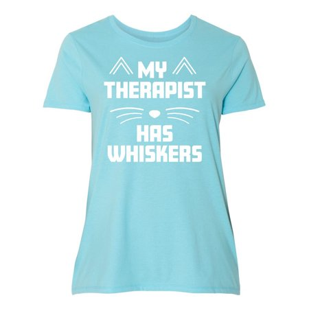 My Therapist Has Whiskers with Cat Nose and Ears in White Women's Plus Size T-Shirt](Cat Ears And Whiskers)