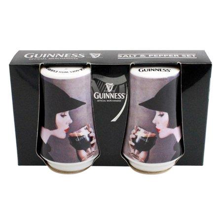 Guinness  Stylized Fine Bone China Girl Salt and Pepper Shaker Set