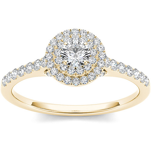Imperial 1/2 Carat T.W. Diamond 10kt Yellow Gold Double Halo Engagement Ring
