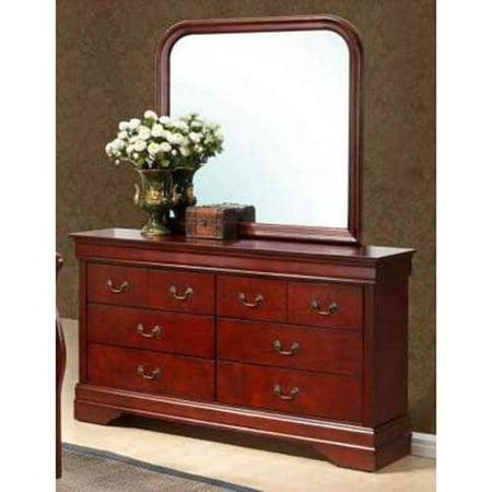 dresser and mirror set in cherry finish. Black Bedroom Furniture Sets. Home Design Ideas