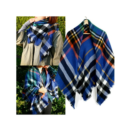 - Women Plaid Lightweight Scarf Tartan Wrap Lattice Large Warm Cozy Blanket Soft Shawl Checked Winter Scarfs for Women - Blue