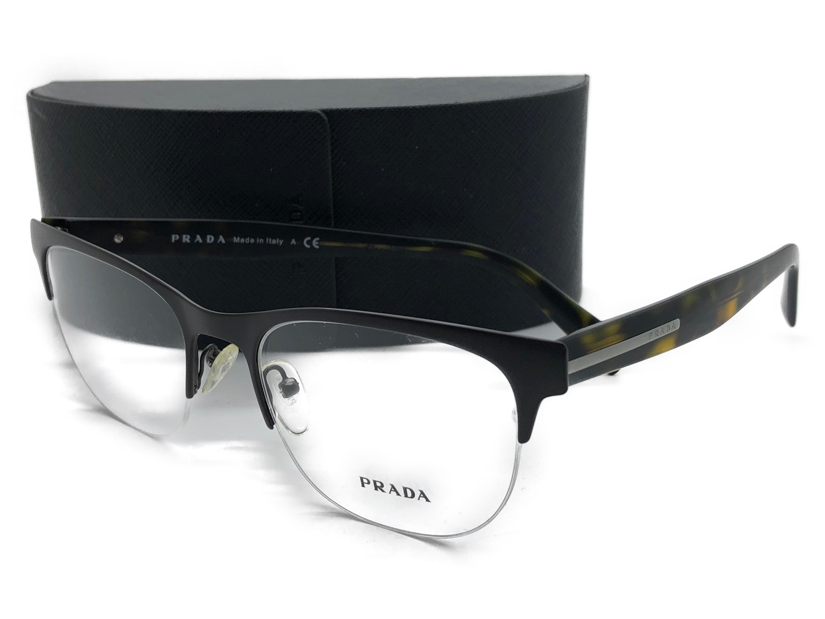 fc9b5c276e87 Prada Brown Tortoise Frame Semi Rimless Eyeglasses 53mm Vpr 54r Lah-1o1 -  Walmart.com