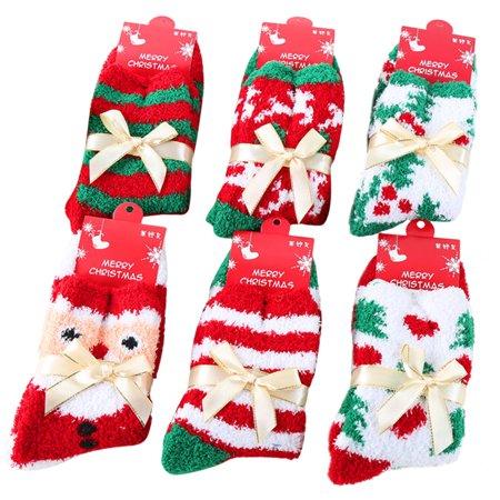 Christmas Socks, Coxeer 6 Pairs Christmas Fuzzy Crew Socks Winter Party Sock Decoration Holiday Fun for Women Girls Ladies](Christmas Sock)