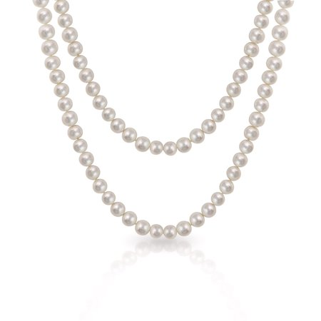 Round Endless Warp Layer Long Hand Knotted White Freshwater Cultured Pearl Rope Strand Necklace For Women 36 52 80 Inch