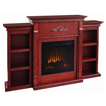 Southern Enterprises Tennyson Mahogany Electric Fireplace With Bookcase