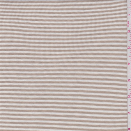 (Pumice Brown/White Stripe Rib Jersey Knit, Fabric By the Yard)