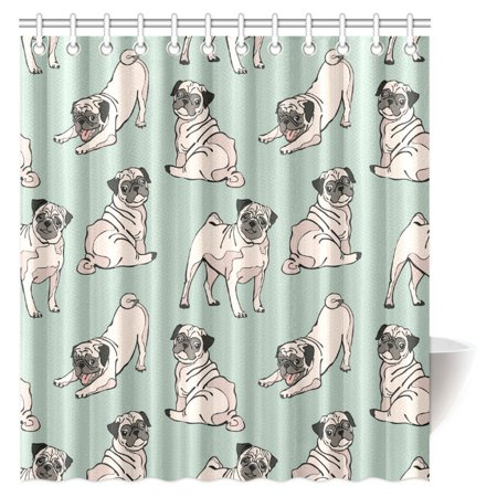 MYPOP Dog Lover Decor Shower Curtain Cute Funny Vintage Animal Pug Puppy Adorable