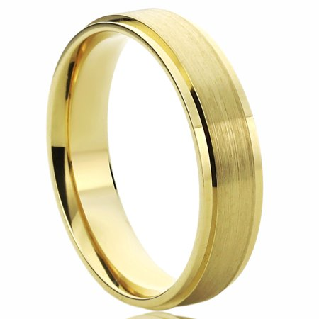 14K Yellow Gold Wedding Band 5mm Brushed Dome Comfort Fit Ring