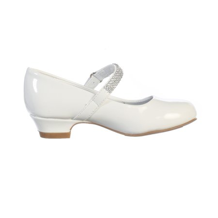 Girls White Rhinestone Strap Mia Occasion Dress Shoes 11-4 Kids (Girl Dress Shops)