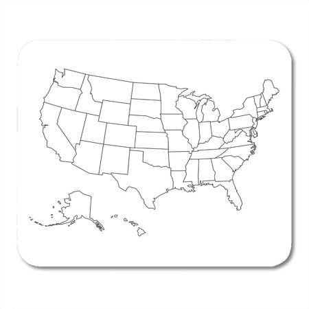 SIDONKU State Blank Outline Map of USA United Line White Simple Black Mousepad Mouse Pad Mouse Mat 9x10