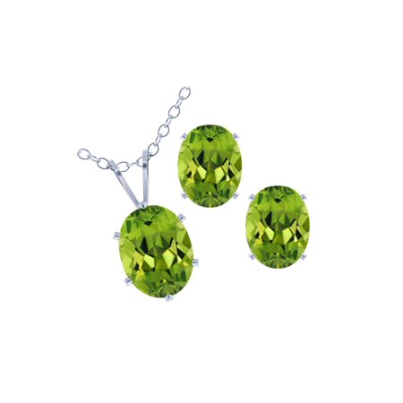 2.60 Ct Green Peridot 925 Silver Pendant Earrings Set with 18