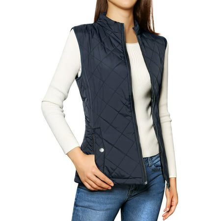 Women's Zip Up Quilted Padded Vest (Steampunk Vest Womens)