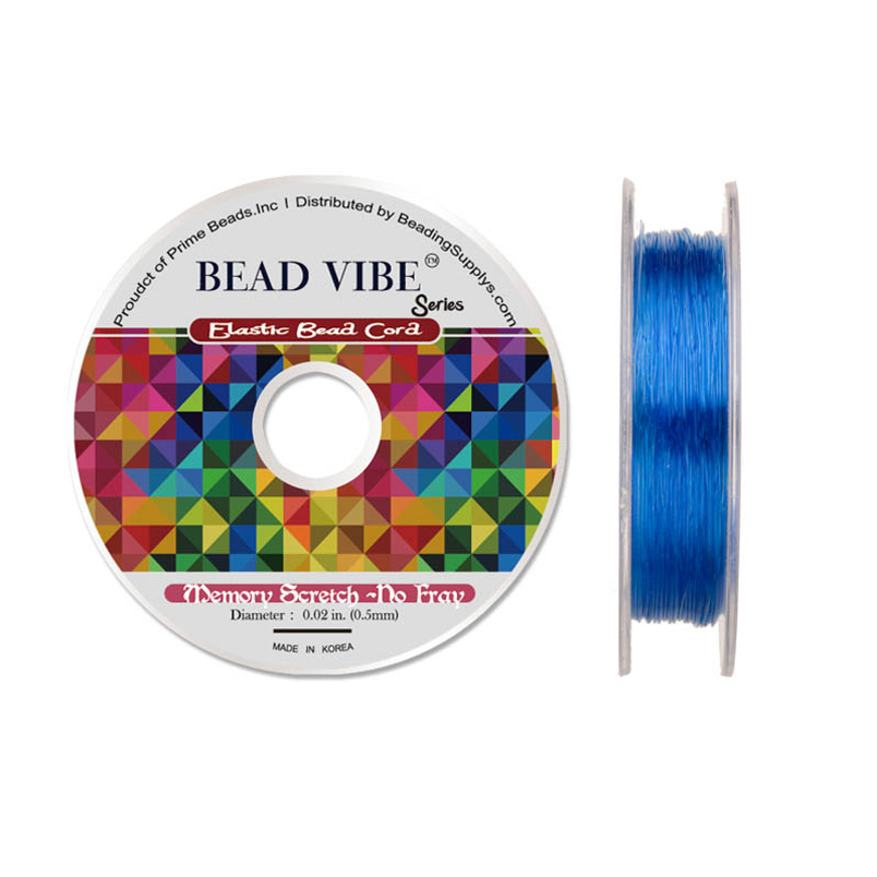 Elastic Bead Cord, Beadvibe Series Memory Stretch Non Fray, Blue 0.5mm Diameter 82Ft/pack (3-pack Value Bundle), SAVE $2