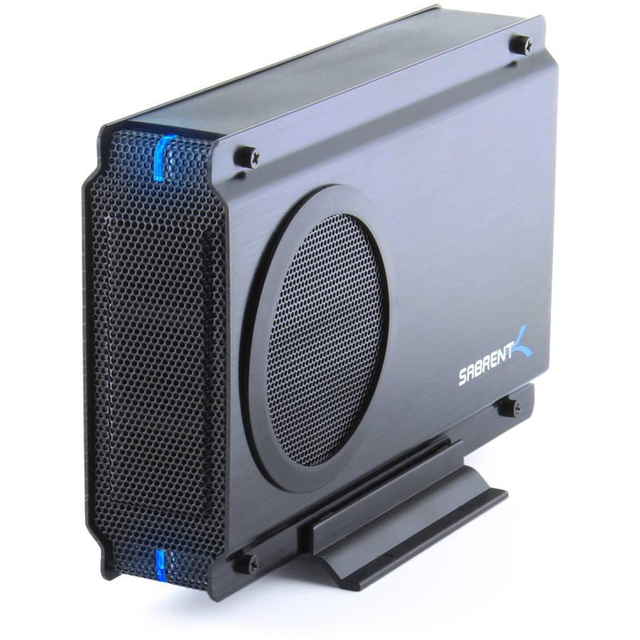 "Sabrent EC-UEIS7 USB 2.0/eSATA to 3.5"" IDE or SATA/SATA II Aluminum Hard Drive Enclosure Case w/ COOLING FAN"
