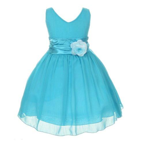 7fbedd952 ezmarts - chiffon double v neck wedding flower girl dress, made in usa (8,  turquoise) - Walmart.com