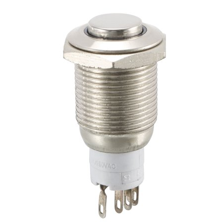 Unique Bargains Blue  Light Illuminated 16mm 12V Momentary Stainless Steel Push Button