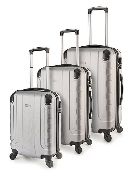 TravelCross Chicago Luggage 3 Piece Lightweight Spinner Set - Silver