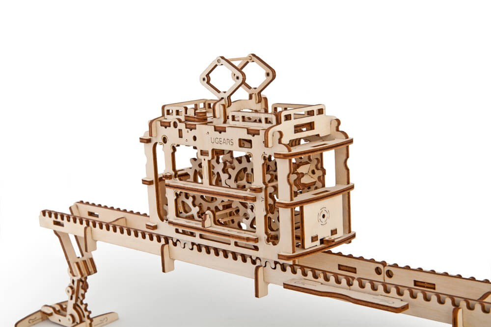 Ugears Tram and Rails Mechanical 3D Puzzle Best Eco-Friendly Wooden Gift Set for Kids and Adults by UGEARS