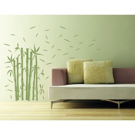 Bamboo Wall Decal - Wall Sticker, Vinyl Wall Art, Home Decor, Wall Mural - 3726 - Black, 47in x 58in - Bamboo Wall Murals