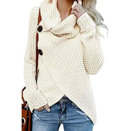 Women's Turtle Cowl Neck Asymmetric Hem Wrap Sweater Coat with Button (Button Detail Coat)