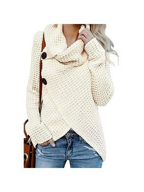 fcbf756e2ca Product Image Women s Turtle Cowl Neck Asymmetric Hem Wrap Sweater Coat  with Button Details