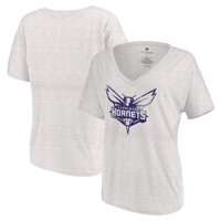 Charlotte Hornets Let Loose by RNL Women's Distressed Primary Logo V-Neck T-Shirt - White Marble