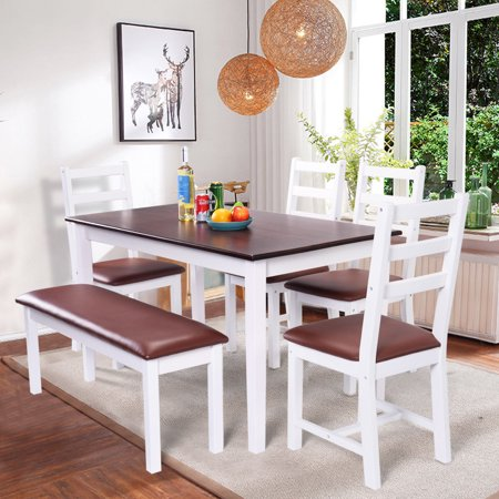 Costway 6pc Dinning Table Set 4 Chairs 1 Bench Home Kitchen Dinette Breakfast Furniture
