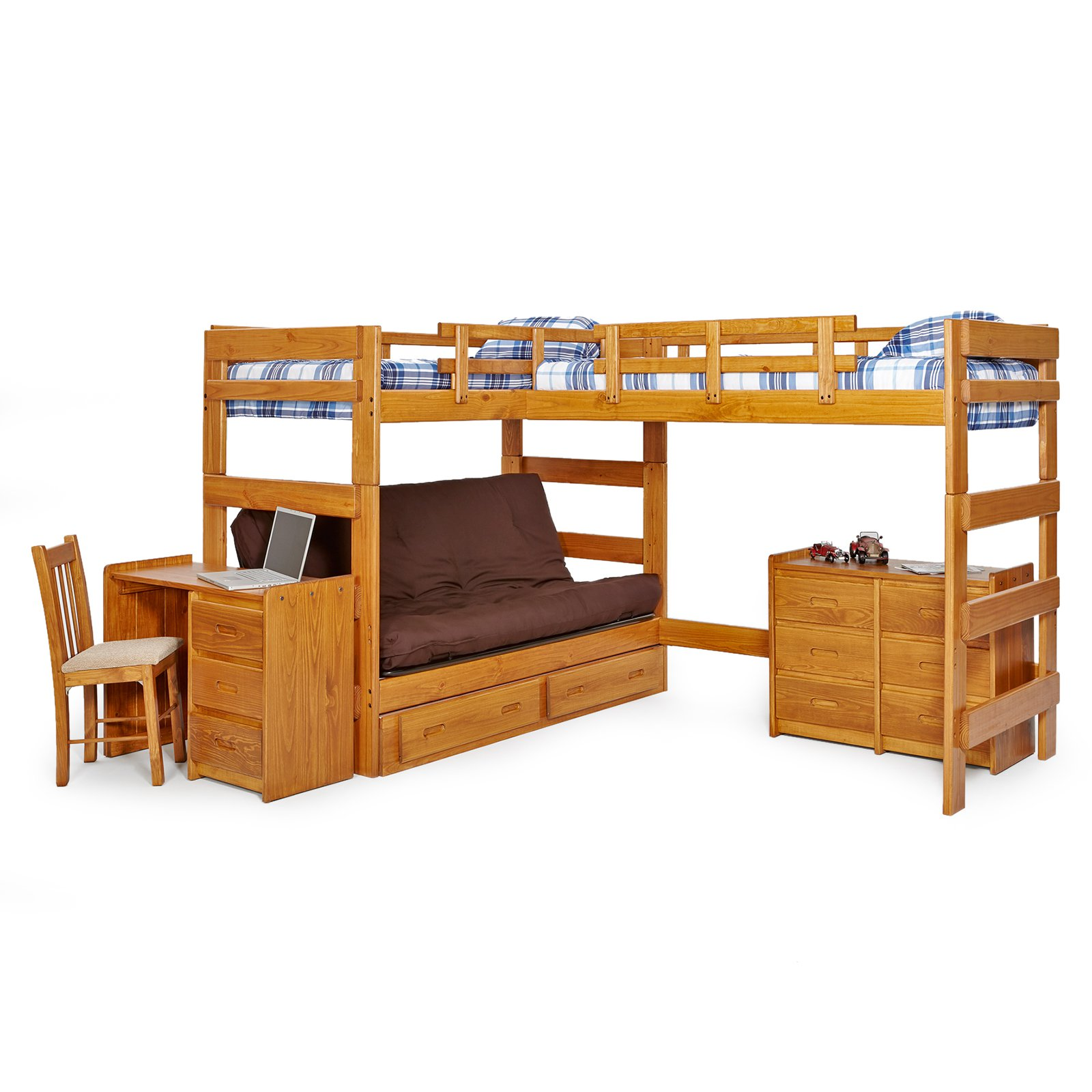 Woodcrest Heartland Futon Bunk Bed With Extra Loft Honey Pine Com