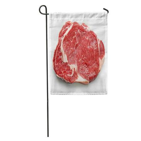 LADDKE Red Meat Fresh Raw Beef Steak Top View White Entrecote Sirloin Cow Garden Flag Decorative Flag House Banner 12x18 inch 12 Top Sirloin Steaks