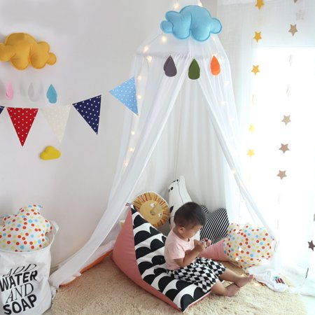 Mosquito Net Canopy,Dome Princess Bed Cotton Cloth Tents Childrens Room Decorate for Baby Kids Reading Play Indoor Games House for $<!---->