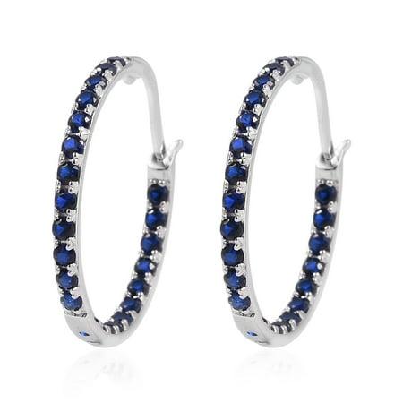 s Sterling Silver Cubic Zircon Blue CZ Hoops Hoop Earrings for Women Hypollergenic Cttw 1.5 Jewelry - Blue Jewelry