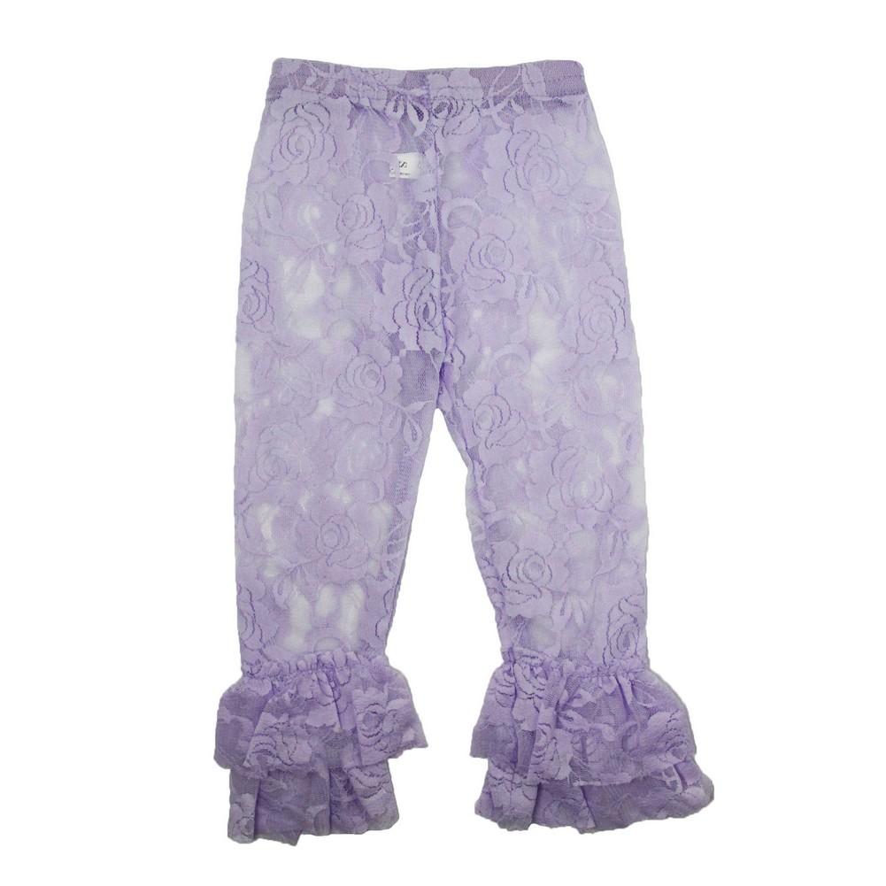 Dress Up Dreams Boutique Little Girls Lavender Rose Lace Elastic Waist Double Ruffle Cuff Pants 2T - 6