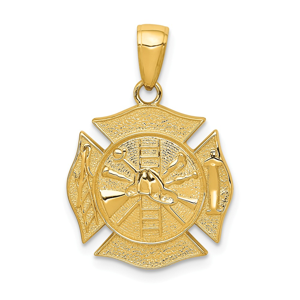 14k Yellow Gold Fire Department Shield Pendant by Diamond2Deal