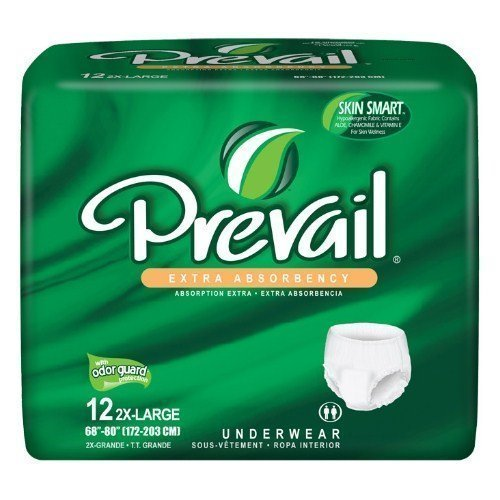 "Prevail Extra Underwear 2X-Large Up to 80"" - Case of 48 (4 Packs of 12) PV-517"