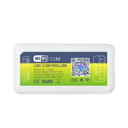 DC12-24V Mini WIFI Single Color Light Emitting Diode Controller Supported Smart Phone Intelligent App Control/ Timing Timer Function/ Brightness Adjustable Dimmable/ Scene Setting/ Group Sharing/ (Best Group Call App)