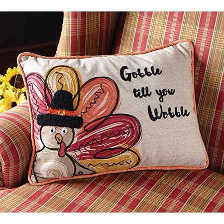Thanksgiving Linen Embroidered Turkey Throw Pillow, Linen pillow with an embroidered turkey that has colorful wings and gobble till you.., By Burton Burton