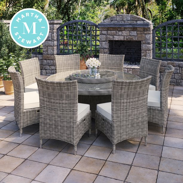 Martha Stewart Highfield 9-Piece Aluminum Frame Brown ... on Martha Stewart 6 Piece Patio Set id=51946