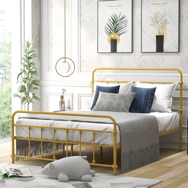 Full Bed Frame With Headboard Metal Full Size Bed Frame No Box Spring Needed Modern Platform