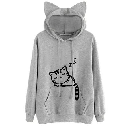 Babula Women Long Sleeve Cat Printed Hooded Sweatshirt Tops (Black Hooded Cloak With Sleeves)
