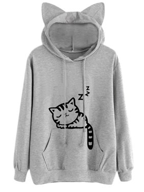 Product Image Babula Women Long Sleeve Cat Printed Hooded Sweatshirt Tops.  Product Variants Selector. Black Gray d83d6a650