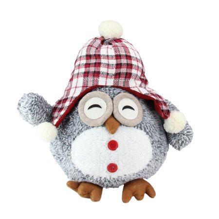 "12"" Gray Owl With Plaid Bennie Cap Plush Table Top Christmas Figure - image 1 of 1"