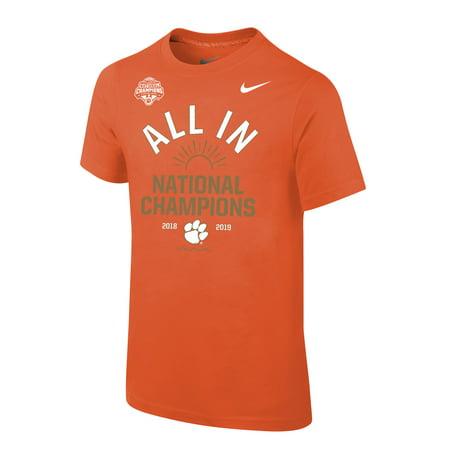 Clemson Tigers Nike Youth College Football Playoff 2018 National Champions Celebration T-Shirt - Orange - Yth XL (Nike Youth Football Kits)
