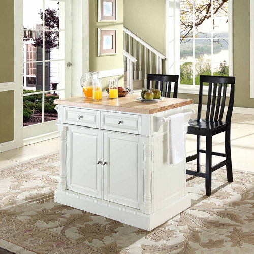 crosley oxford butcher block top kitchen island with stools in white - Kitchen Stools