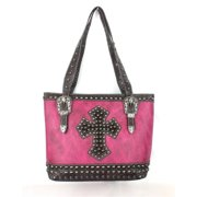Accessories Plus MKC-5762 HPK Handbag with Hair - On Cross & Studs, Hot Pink