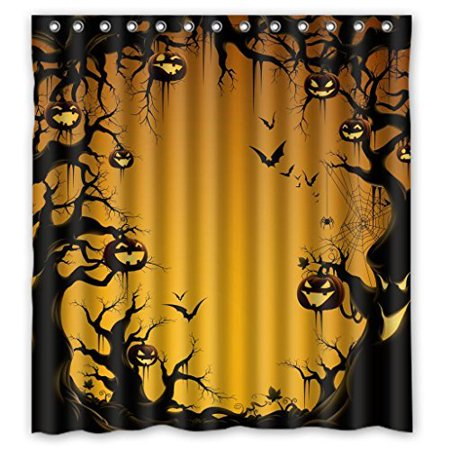 GreenDecor Halloween Es Waterproof Shower Curtain Set with Hooks Bathroom Accessories Size 66x72 inches