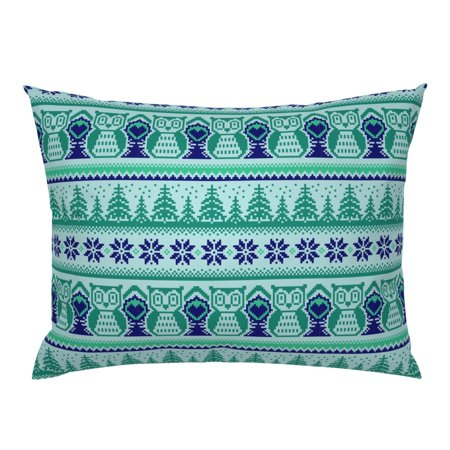 Woodland Winter Pixel Forest Knitted Look Aqua Mint Pillow Sham by Roostery