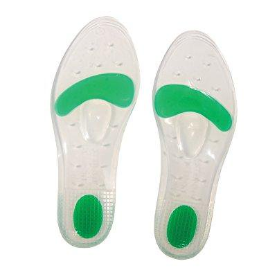 steins silicone dual density comfort shoe gel insoles for extra arch support and feet, ankle, knee and hip joint relief, men (size 9.5 to 10.5) or women (size 10.5 to 11.5),