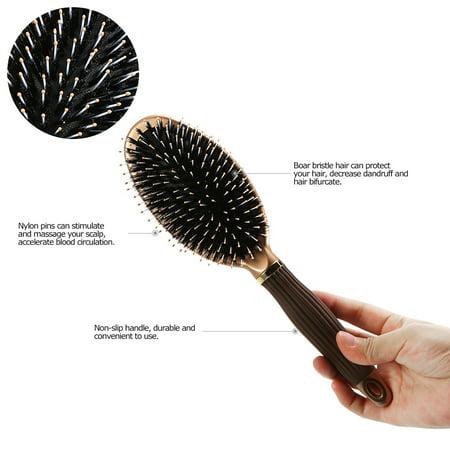 Boar Bristle Hair Brush Anti-static Puddle Comb Nylon Massage Hair Care Tool Non-slip Handle (Cars Hair Brush)